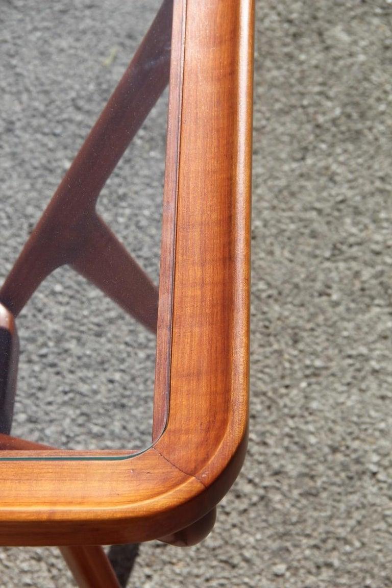 Rectangular Glass Coffee Table: Midcentury Coffee Table Cherry Wood Rectangular Form Glass