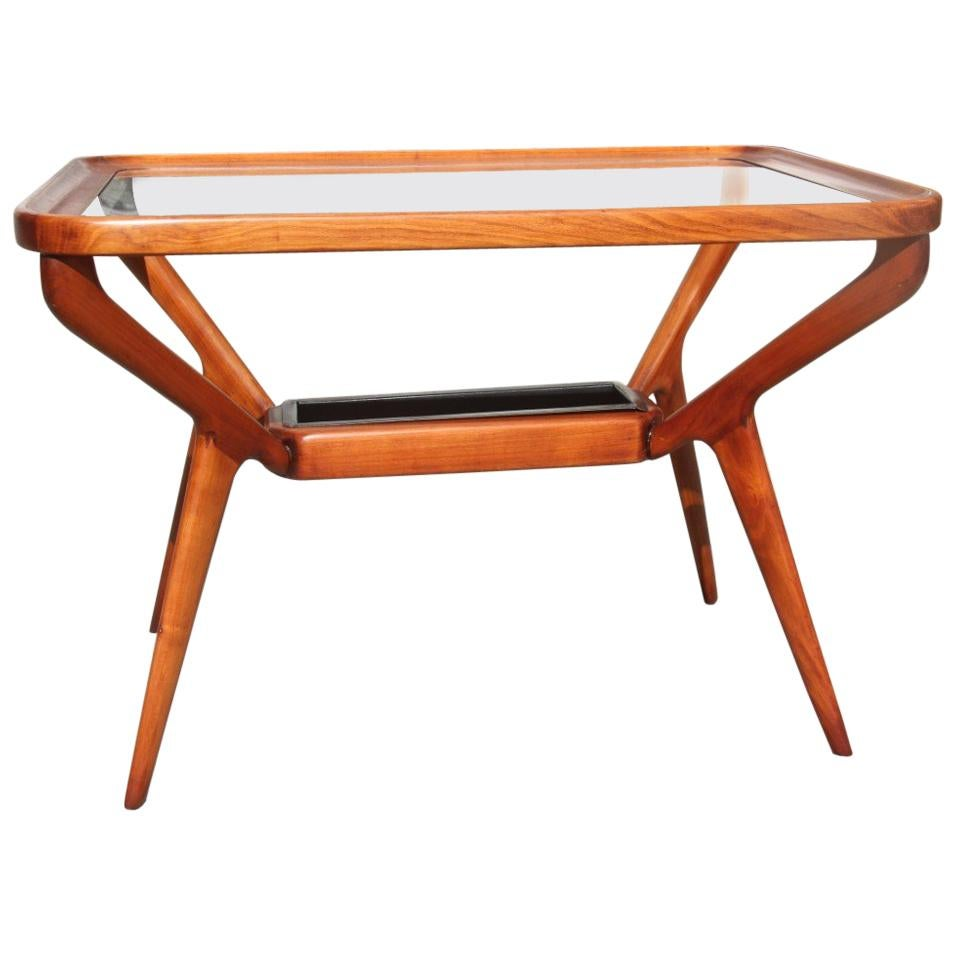Midcentury Coffee Table Cherry Wood Rectangular Form Glass Top 1950s Dassi