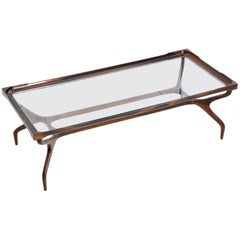 Midcentury Coffee Table in Jacaranda and Glass Designed by Giuseppe Scapinelli