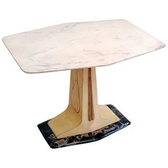Midcentury Coffee Table in Parchment with Marble Top and Base