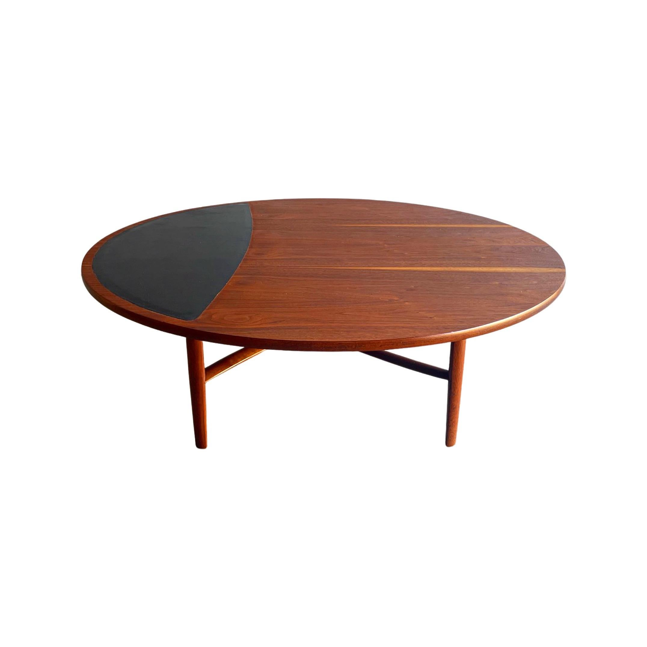 Midcentury Coffee Table in Walnut and Leather by Barney Flagg, Drexel Parallel