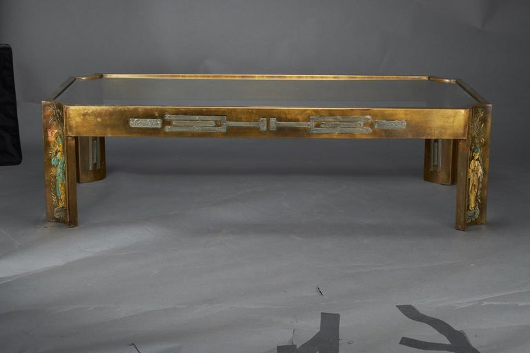 Midcentury Coffee Table with Glass Top, done by Philip and Kelvin LaVerne 2