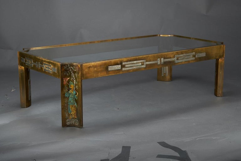Midcentury Coffee Table with Glass Top, done by Philip and Kelvin LaVerne 3