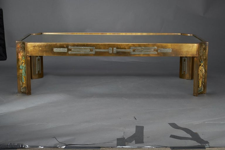 Midcentury Coffee Table with Glass Top, done by Philip and Kelvin LaVerne 4