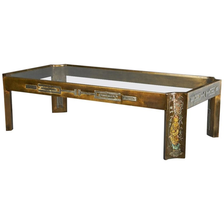 Midcentury Coffee Table with Glass Top, done by Philip and Kelvin LaVerne 1