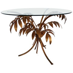 Midcentury Coffee Table with Leaves in Gilt Metal by Hans Kögl, 1970s