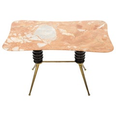 Midcentury Coffee Table with Rose Pink Marble Top