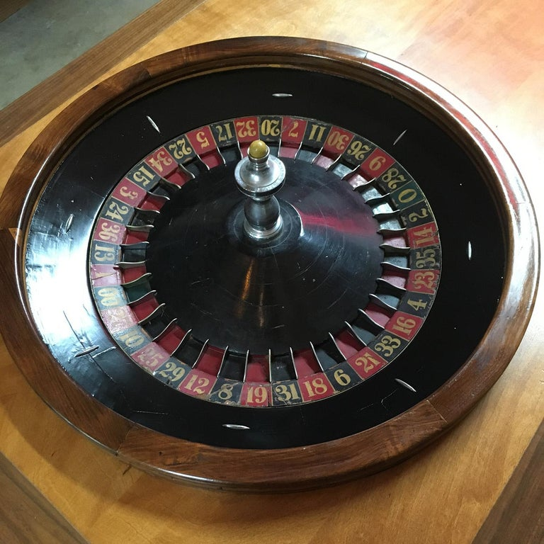 Mid-20th Century Midcentury Coffee Table with Working Roulette Wheel For Sale