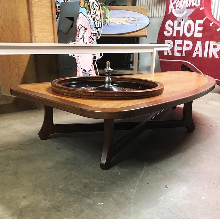 Birch Midcentury Coffee Table with Working Roulette Wheel For Sale