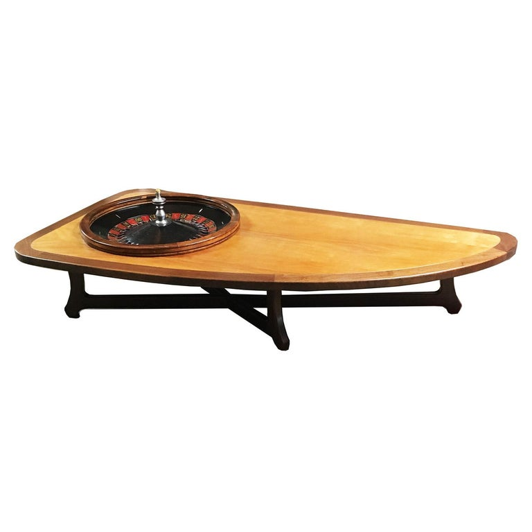 Midcentury Coffee Table with Working Roulette Wheel For Sale