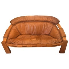 Midcentury Cognac Brown Leather Sofa