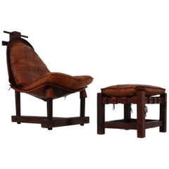 Midcentury Cognac Leather Chair and Ottoman, Brazil, 1960s