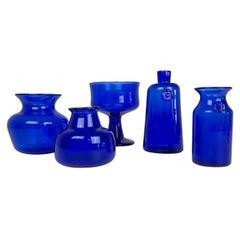 Midcentury Collection of Five Blue Vases by Erik Hoglund, Sweden, 1960s