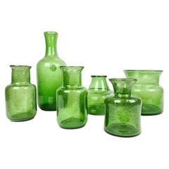 Midcentury Collection of Six Green Vases by Erik Hoglund, Sweden, 1960s