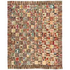 Midcentury Colorful American Hooked Wool Rug