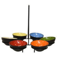 Midcentury Colorful Centerpiece Six Enamel Krenit Party Bowls by Krenchel, 1960s