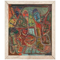 Midcentury Colorful Figurative Abstract Painting in Reds, Blues and Greens