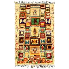Midcentury Colorful Handmade Moroccan Cotton Rug
