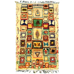 Midcentury Colorful Handmade Moroccan Cotton Rug