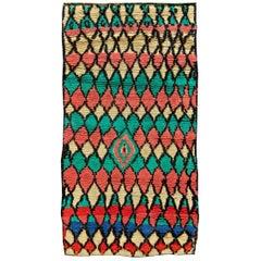 Midcentury Colorful Tribal Handwoven Moroccan Rug