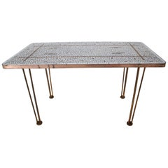 Midcentury Conference Brass Mosaic Table, 1960s