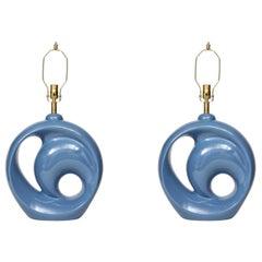 Midcentury Cornflower Blue Porcelain Lamps