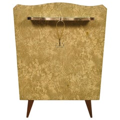 Midcentury Console in Gilded Brass and Plasticized Fabric Brugnoli Mobili Cantù