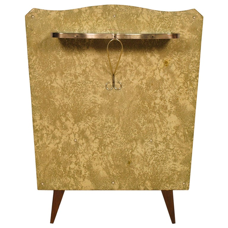Midcentury Console in Gilded Brass and Plasticized Fabric Brugnoli Mobili Cantù For Sale