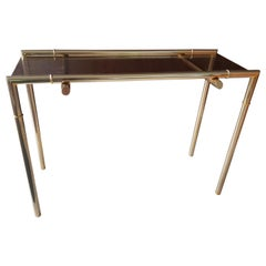Midcentury Console Nickel and Smoked Glass, France, 1960s
