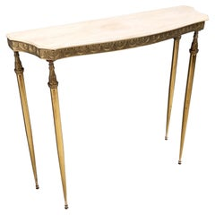Midcentury Console with a Portuguese Pink Marble Top and Brass Frame, Italy