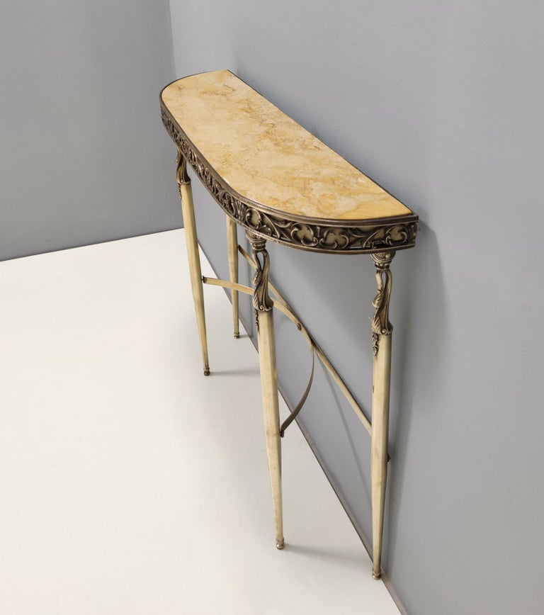 Italian Midcentury Console with a Royal Yellow Marble Top and Brass Frame, Italy For Sale