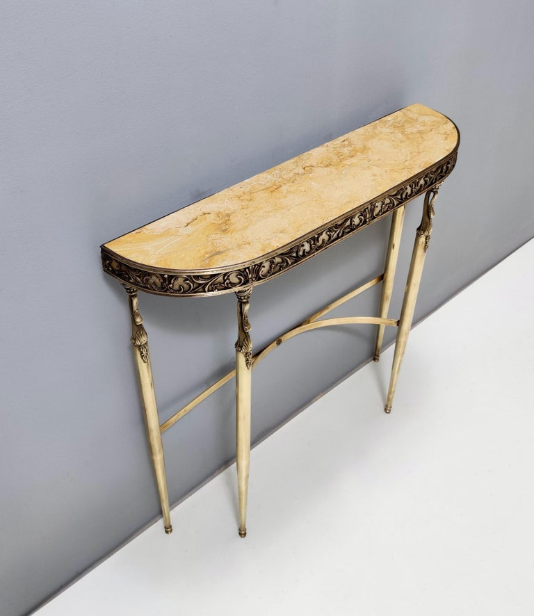 Midcentury Console with a Royal Yellow Marble Top and Brass Frame, Italy In Good Condition For Sale In Bresso, Lombardy