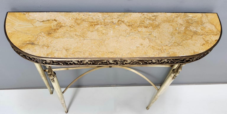 Mid-20th Century Midcentury Console with a Royal Yellow Marble Top and Brass Frame, Italy For Sale