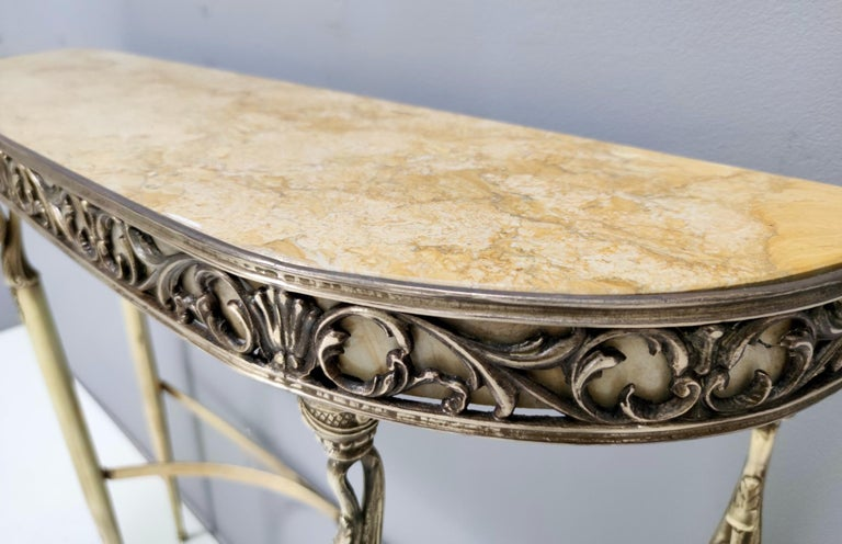 Midcentury Console with a Royal Yellow Marble Top and Brass Frame, Italy For Sale 1