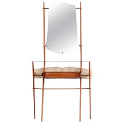 Wooden Midcentury Console with Mirror, Italy, 1950