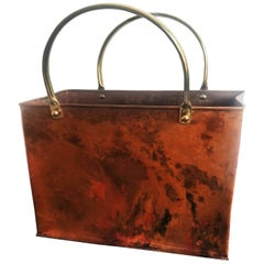 Midcentury Copper Magazine Rack with Brass Handles