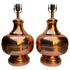 Midcentury Copper Table Lamps
