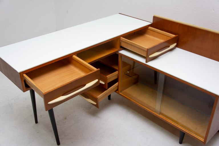 Midcentury Corner Writing Desk with a Small Bookcase, UP Závody, 1960s For Sale 3