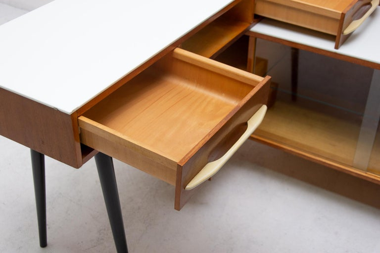 Midcentury Corner Writing Desk with a Small Bookcase, UP Závody, 1960s For Sale 4