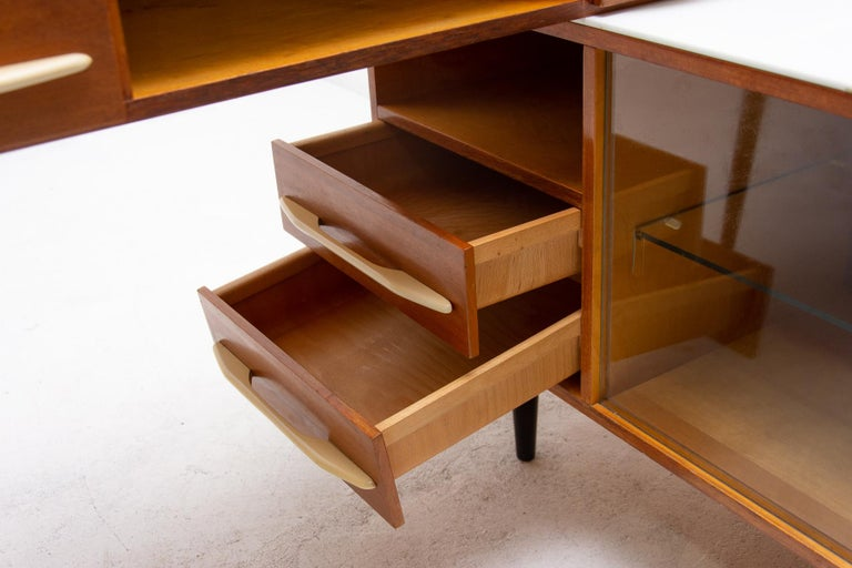 Midcentury Corner Writing Desk with a Small Bookcase, UP Závody, 1960s For Sale 5