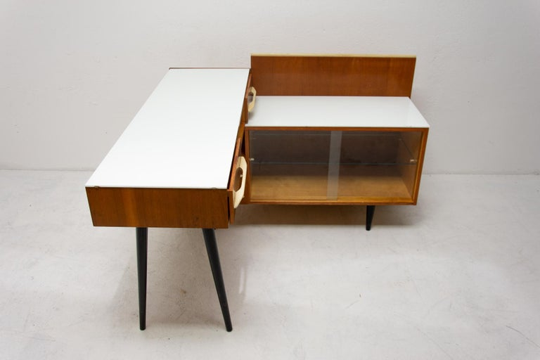 Mid-Century Modern Midcentury Corner Writing Desk with a Small Bookcase, UP Závody, 1960s For Sale