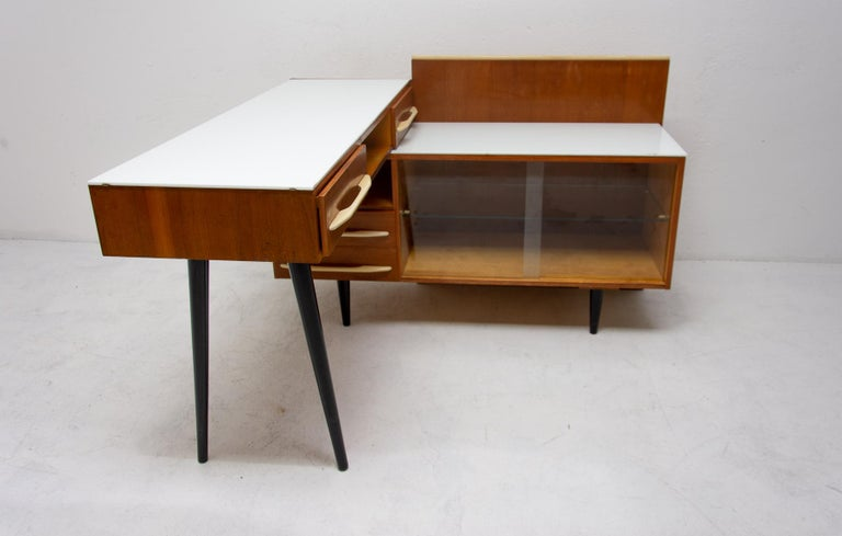 Czech Midcentury Corner Writing Desk with a Small Bookcase, UP Závody, 1960s For Sale