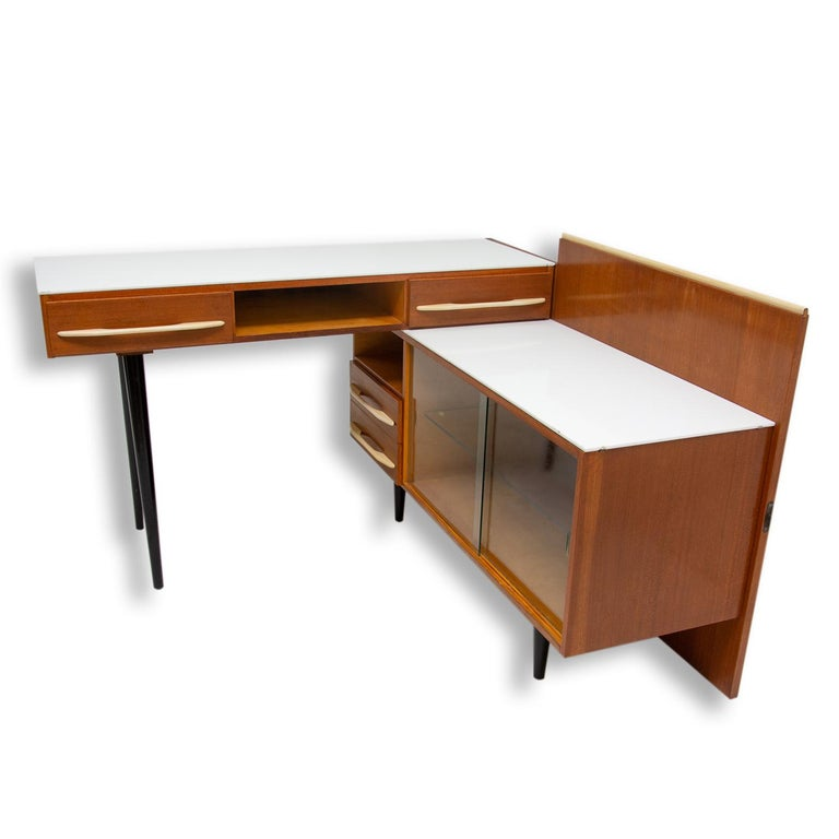 Midcentury Corner Writing Desk with a Small Bookcase, UP Závody, 1960s In Good Condition For Sale In Prague 8, CZ
