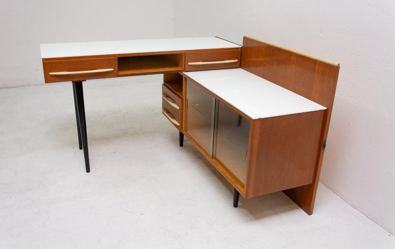Mid-20th Century Midcentury Corner Writing Desk with a Small Bookcase, UP Závody, 1960s For Sale
