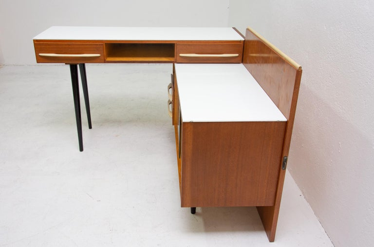 Glass Midcentury Corner Writing Desk with a Small Bookcase, UP Závody, 1960s For Sale