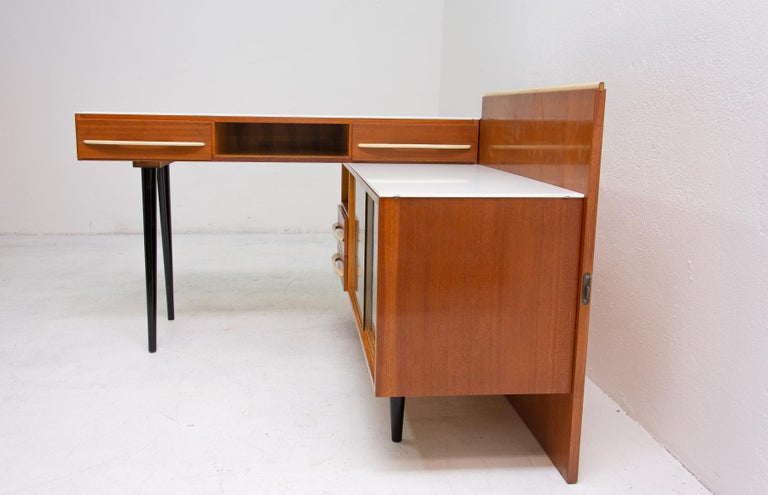 Midcentury Corner Writing Desk with a Small Bookcase, UP Závody, 1960s For Sale 1