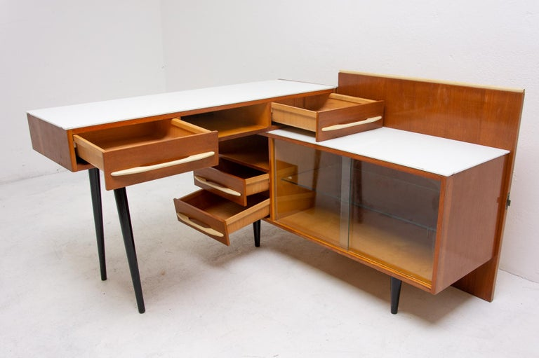 Midcentury Corner Writing Desk with a Small Bookcase, UP Závody, 1960s For Sale 2