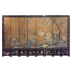 Midcentury Double Sided Eight-Panel Coromandel Lacquered Screen