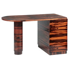 Midcentury Coromandel Ebony Veneered Desk / Side Table