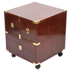 Midcentury Country Style Mahogany and Brass English Chest of Drawers, 1960s